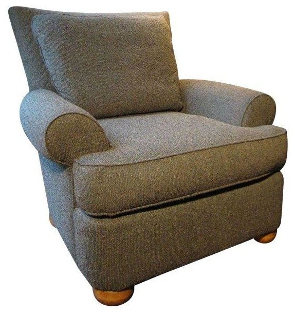 Olive Green Tweed Upholstered Chairs   A Pair  Transitional Armchairs And Accent