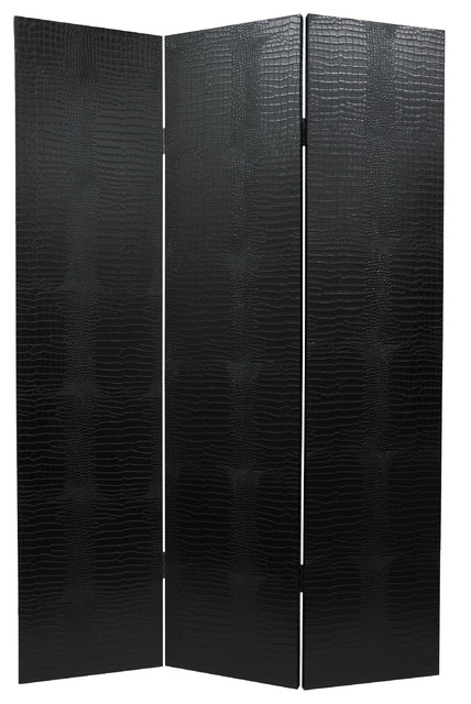 6' Tall Faux Leather Black Crocodile Room Divider