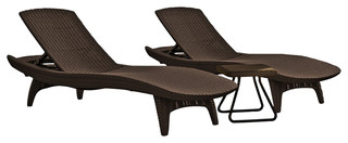 Keter Pacific Sun Loungers With Rio Side Table - Tropical ...