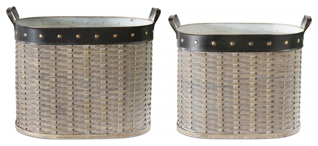 """Oval Basket, Set of 2, 19""""x15.5""""H, 20""""x16.5""""H Willow"""