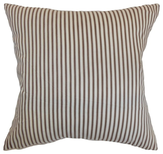 Decorative Pillows With Stripes : Shop Houzz The Pillow Collection Inc. Daxiam Stripes Pillow Brown White - Decorative Pillows