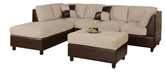 3-Piece Sectional Sofa, Cream Microfiber Brown Faux Leather