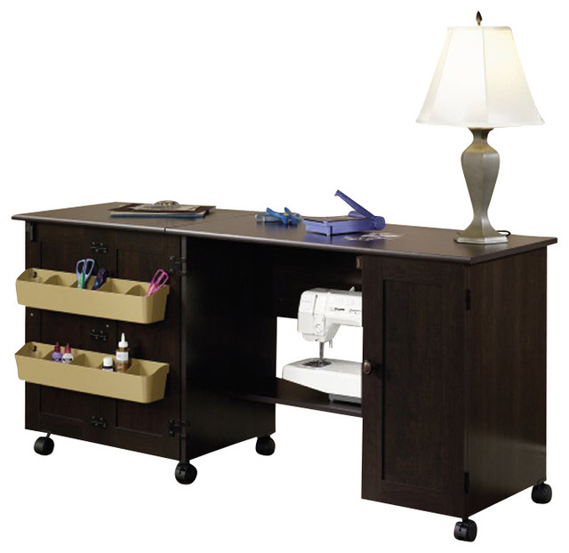 Sauder Craft And Mobile Sewing Cart In Cinnamon Cherry  Transitional Furniture