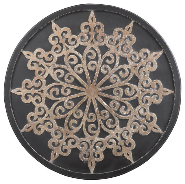 Gilded Round Wall Decor : Round wall decor in black and gold mediterranean