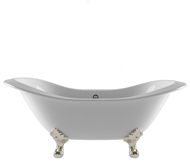 "71"" Double Ended Slipper Tub, 7"" Faucet Holes ""Buchanan"", Brushed Nickel Feet"