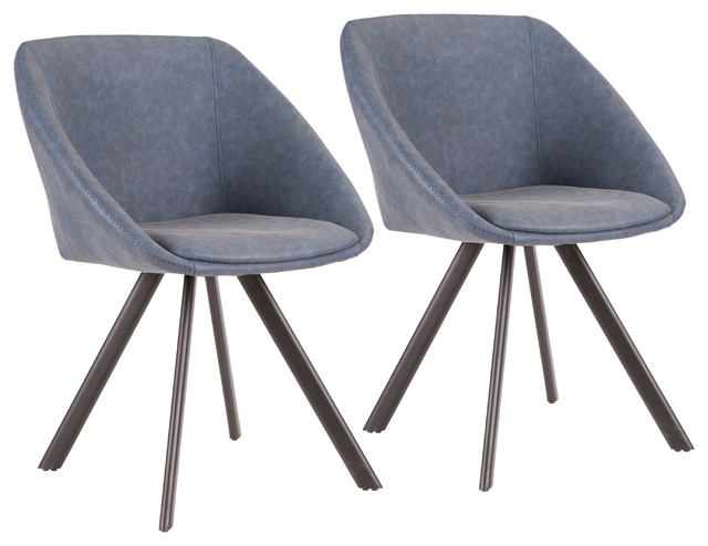Lumisource Matisse Chair, Blue PU Leather, Set of 2
