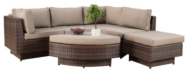 6-Piece Brenan Outdoor Sofa Sectional - Tropical - Outdoor Lounge ...