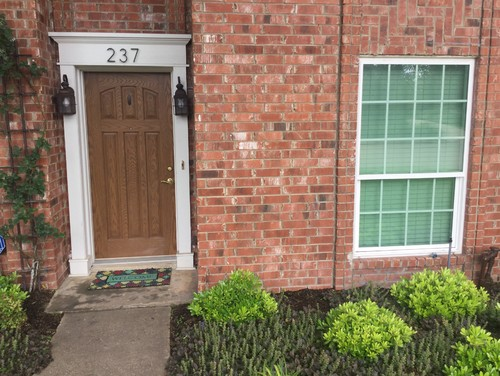 Perfect Front Door Color When Window Panes Are Tinted Green