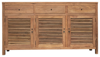 Recycled Teak Louvre Cabinet 3 Doors Drawers
