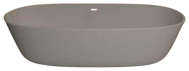"Venzi Pietrastone 32""x71"" Man Made Stone Oval Freestanding Bathtub, Center Drain."