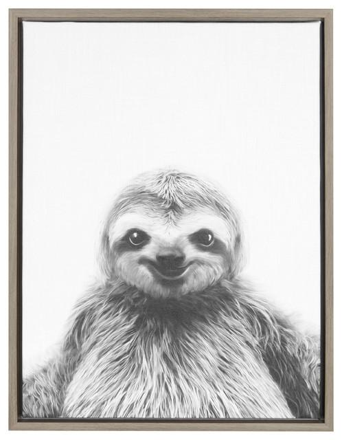 """Sylvie Sloth"" Framed Canvas Wall Art, Gray, 18""x24"""