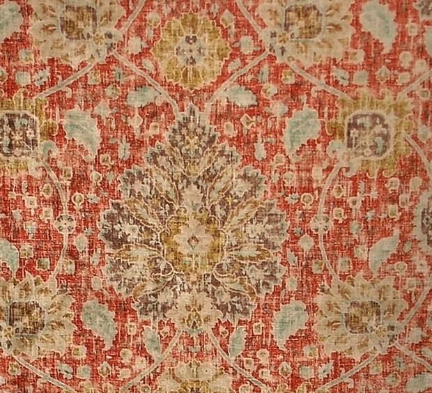 Vintage Persian Rug Fabric Orange Blue Chenille Velvet Upholstery, Sample Cut