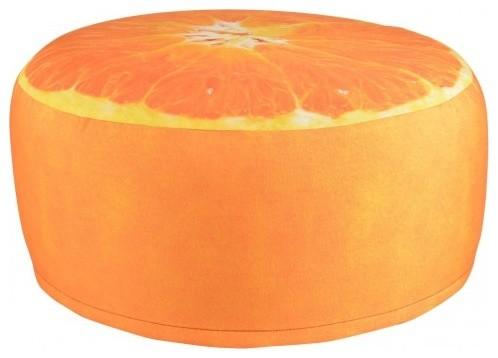 Orange Outdoor Pouffe Garden Seat