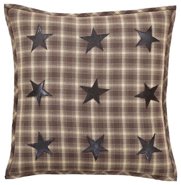 Dawson Star Applique Pillow With Down Fill, 18x18.
