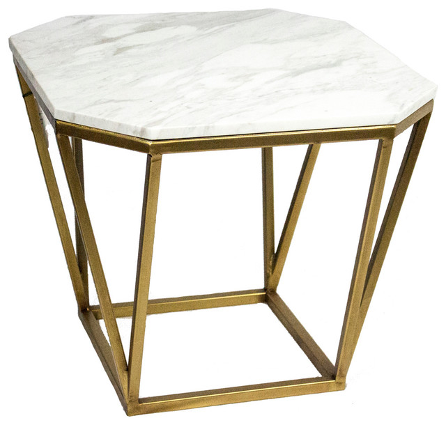 White Marble And Metal Round Accent Table: Sagebrook Home Side Table, Metal And Faux