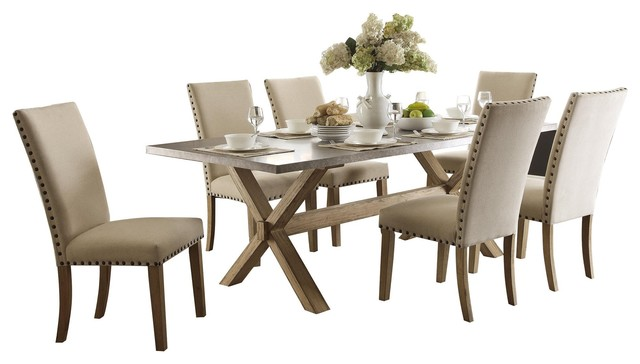 7-Piece Labayen Industrial Dining Set Zinc Table, 6 Chair, Weathered Oak