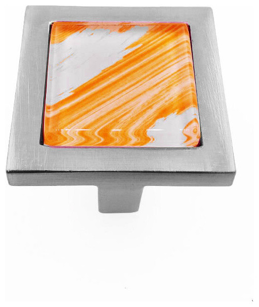 Hand Brush Orange Tilted Strokes Crystal Glass Brushed Nickel Square Manor Knob - Contemporary ...