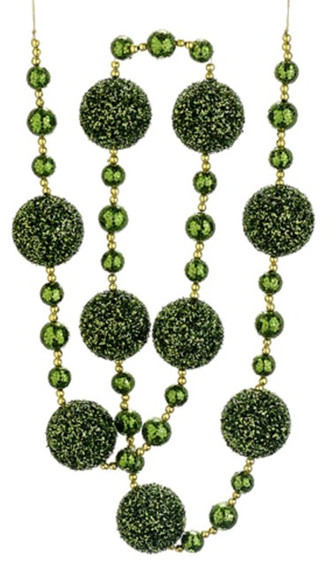 Christmas Brites Elf Suit Green And Gold Glittered Holiday Ball Garland 6&x27;.