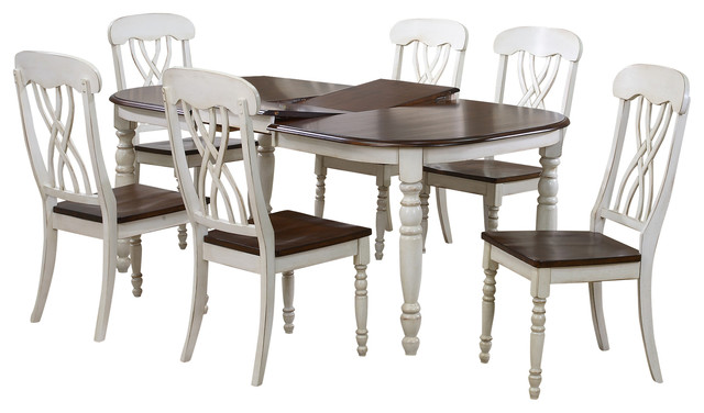 Newman Oak Wood Distressed White 7 Piece Dining Set 5  : contemporary dining sets from www.houzz.com size 640 x 376 jpeg 55kB