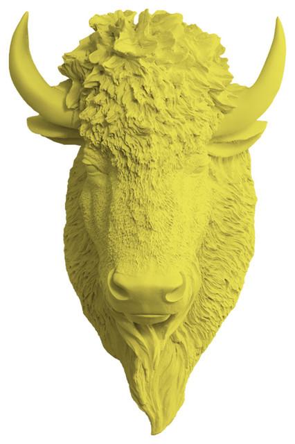Mounted Resin Bison/buffalo Head, Yellow, Large.