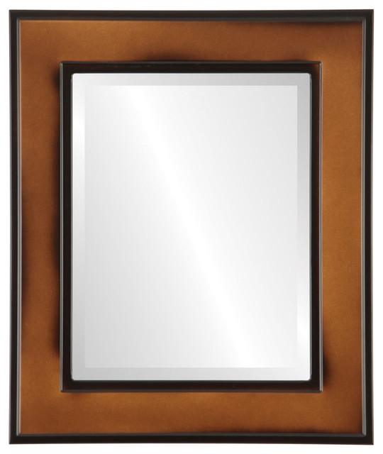 "Montreal Framed Rectangle Mirror In Walnut, 27""x33""."