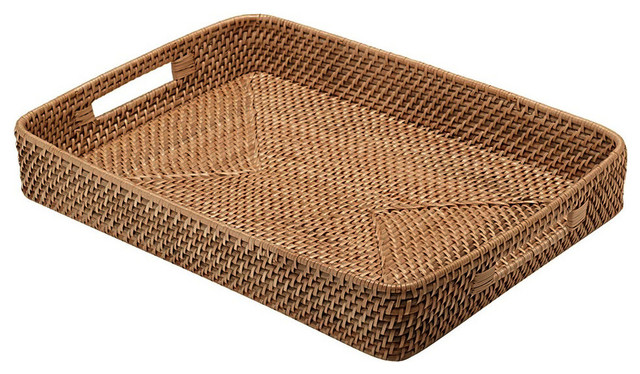 Rattan Serving Tray with Cut-Out Handles, Honey Brown ...