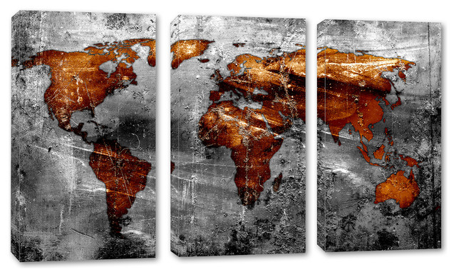 Copper Gray World Map Canvas Print Wall Art 3 Panel Split Triptych