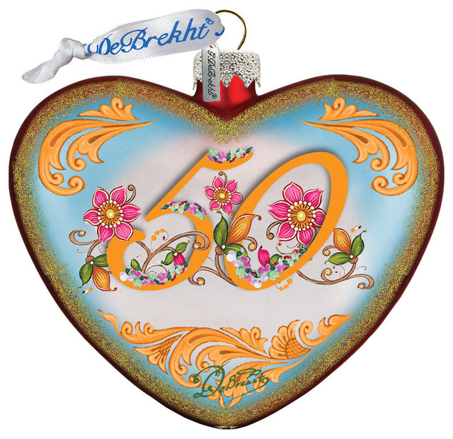 Hand Painted 50th Anniversary Heart Glass Ornament Traditional Christmas Ornaments By G Debrekht