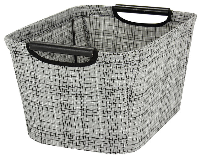 Small Tapered Storage Bin With Wood Handles, Gray Plaid, Gray Plaid  Contemporary Storage