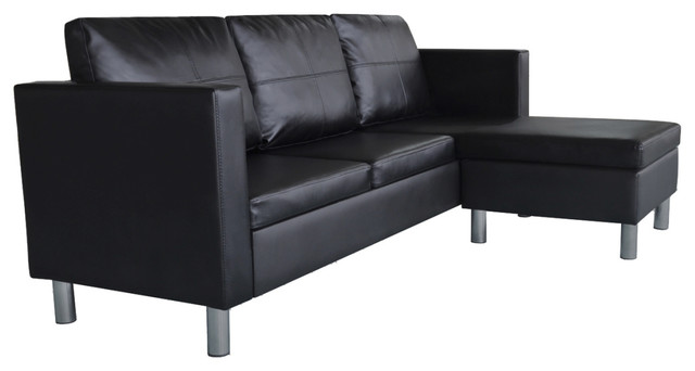 Vidaxl 3-Seater L-Shaped Artificial Leather Sectional Sofa, Black, Black.