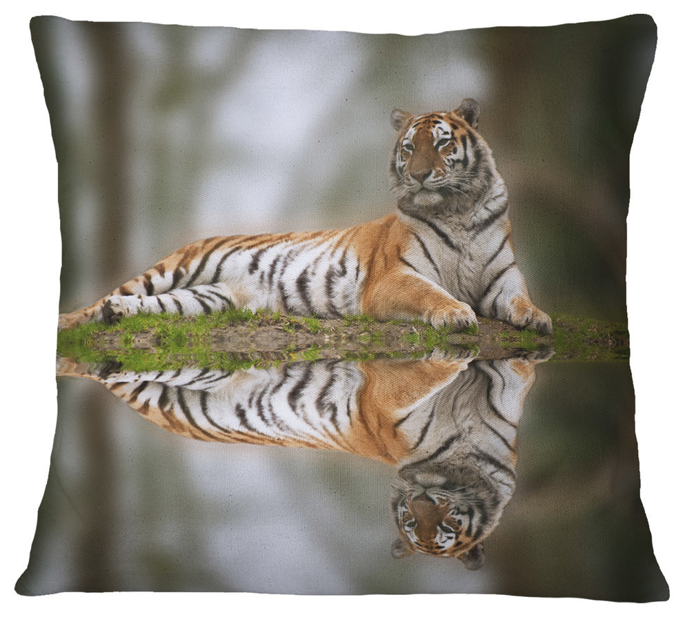 Tiger Reflecting In Water Animal Throw Pillow Contemporary Decorative Pillows By Design Art Usa
