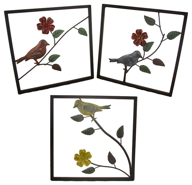 Wall Hanging Art Pieces : Pieces songbirds on flower branches metal wall hanging