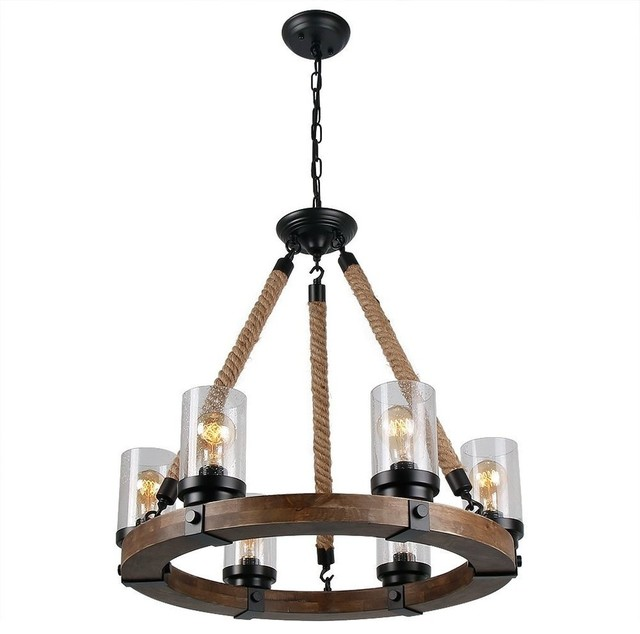 Round Wooden Chandelier With Clear Glass Shade Rope And Metal Pendant 6 Lights