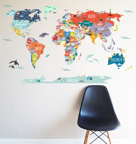 World map interactive map wall decal scandinavian for Black and white world map wall mural