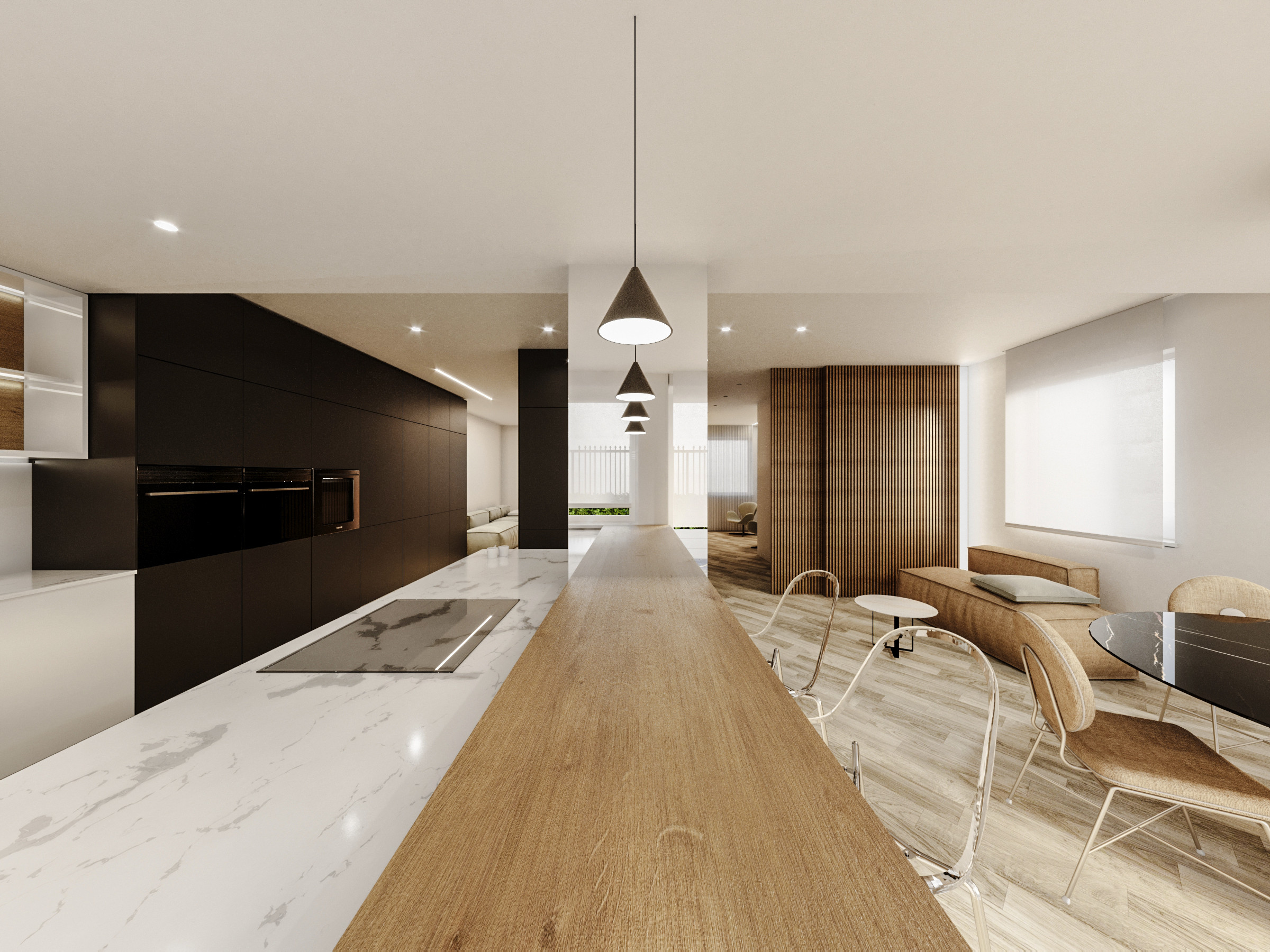Open concept kitchen - mid-sized contemporary u-shaped light wood floor, beige floor and tray ceiling open concept kitchen idea in Catania-Palermo with an integrated sink, flat-panel cabinets, black c