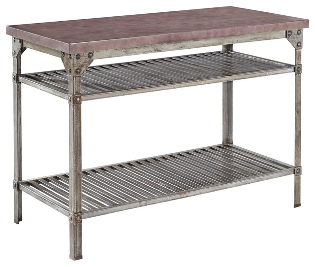 Home Styles Urban Style Kitchen Island in Aged Metal with Concrete Top
