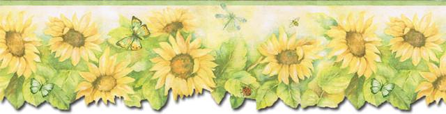 Wallpaper Border - Sunflowers Wallpaper Border, Prepasted.