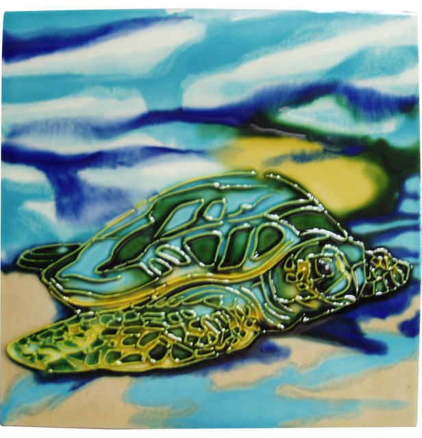 Sea Life Turtle Wave Rug2 Bath Mat: Sea Turtle Beach Tile