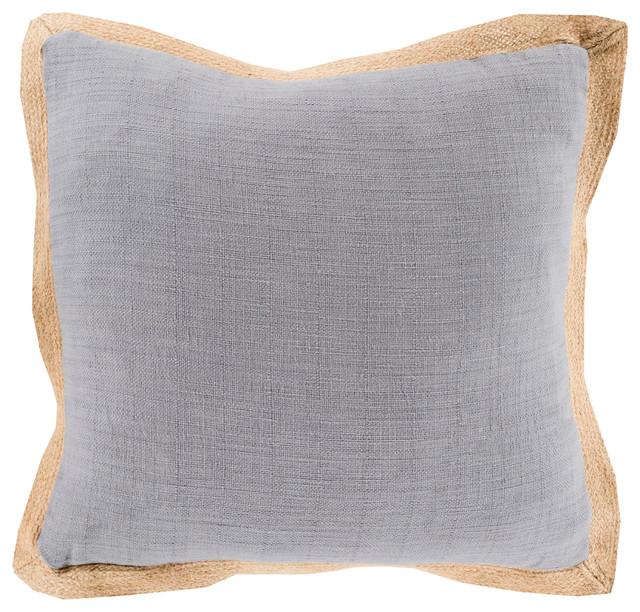 Jute Flange Pillow 20x20x5, Polyester Fill.