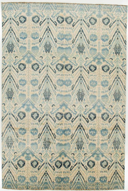 ikat rug without borders blue and tan - area rugs -rugknots