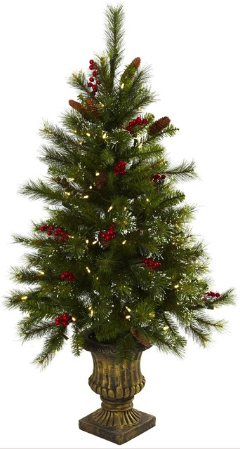 4 Foot Christmas Tree.Artificial Tree 4 Foot Christmas Tree With Berries Pine Cones Led Lights