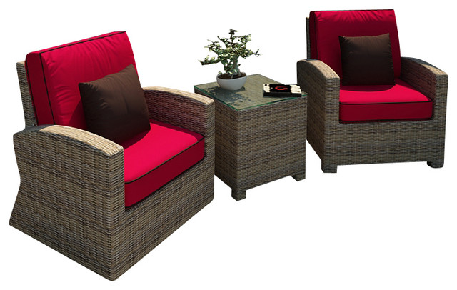 Cypress 3 Piece Modern Patio Chat Set, Flagship Ruby Cushions - Cypress 3 Piece Modern Patio Chat Set - Contemporary - Patio