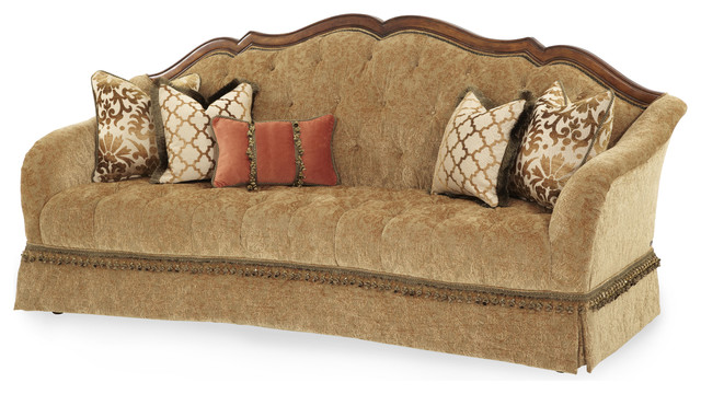 Villa Valencia Wood Trim Tufted Sofa, Green And Gold.