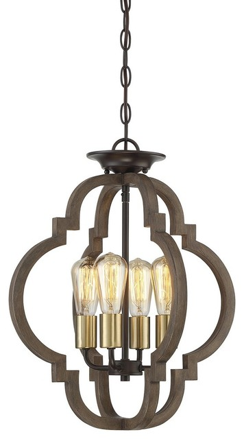 4-Light Convertible Semi-Flush, Barrelwood With Brass Accents.