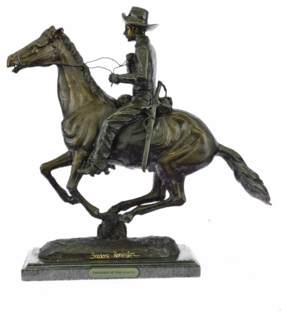 Trooper Of The Plains Bronze By Frederic Remington On