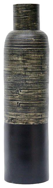 """Raya 36"""" Spun Bamboo Bottle Vase, Distressed Black & Matte Black"""