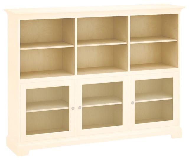 Howard Miller Custom Storage Cabinet 3-Glass Doors, 3-Shelves, Antique Vanilla.