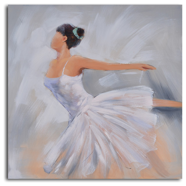 Ballerina in white Hand Painted Canvas Art - Traditional - Prints ...