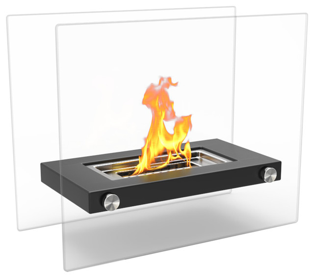 Regal Flame Monrow Ventless Tabletop Portable Bio Ethanol Fireplace, Black.