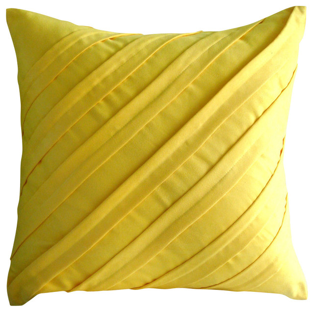Textured Pintucks Yellow Faux Suede Pillow Covers